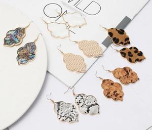 Kendra Hexagone Nacre Leopard cuir Boucle d'oreille en métal géométrique Scott Boucles d'oreilles Bijoux Epacket gratuit