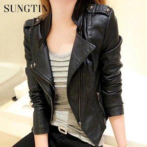 Sungtin весна осень женщины искусственная кожа куртки короткое пальто женская мода заклепки прохладный панк искусственная кожа куртка черная верхняя одежда