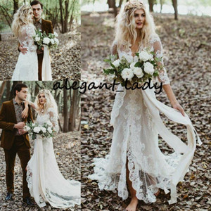 Vintage Bohemian Wedding Dresses with Long Sleeve 2020 Retro Lace Applique Hippie Countryside Bride Gown Split Vestido De Novia
