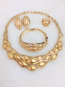 Yulaili High Quality Copper Alloy Gold Color Necklace Earrings Bracelet Ring for Women Wedding Bridal Bridesmaid Party Jewelry Sets