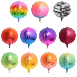 Aluminum Film Balloon Gradation Colour 22 Inches Round 4d Disco Balloons Popular Party Decoration New Arrival