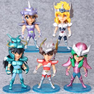 Prettygift 5pcs / Set 10cm Seiya Eylem Burç Doll Janpaness Anime Çizgi Oyuncak Çocuk Noel Hediyeler Knights Of Şekil