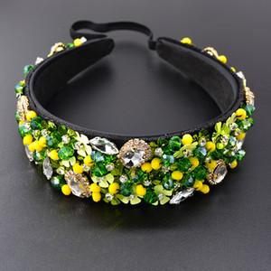 Vintage Baroque Krone übertrieben grüner Kristall Samt Stirnband für Frauen Brauthaar-Zusätze Kristall Juwel Stirnband
