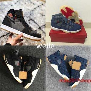 Pattini di pallacanestro del Mens 4 6 11 13 Denim LS Travis Uomini Neri Blue Jeans 4s 11s 13s 1s addestratori di sport delle scarpe da tennis Taglia 7-13