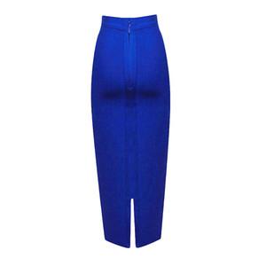 BEAUKEY 2018 veau bleu moyen Crayon Bandage long Jupe moulante Femmes Stretchable de Split en gros XL Y200326