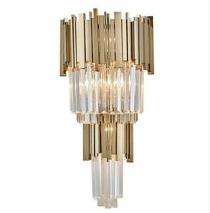 Lampada da comodino di lusso in cristallo post-moderno Lampada da comodino in camera da letto Lampada da parete per hotel LED scala da parete per hotel LLFA