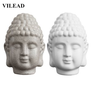 VILEAD 15cm Sandstone White Buddha Head Statue Resin India Religious Buddha Head Sculpture Thailand Buddha Figurines Home Decor T200703