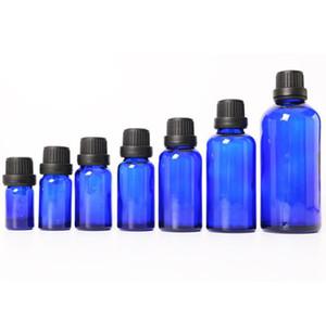 Cobalt Blue Glass Euro Tropfflaschen Großhandel 5ml 10ml 15ml 20ml 30ml 50ml 100ml kosmetische ätherische Öl Glasflaschen auf Verkauf