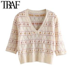 Top TRAF dolce delle donne di moda ritagliata Maglione Vintage V manicotto mezzo femminile Pullover Chic