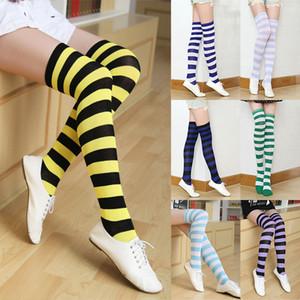 Meninas tubo longo meias mulheres sexy Stripes Algodão Knees alta Meias Festive Party Supplies Christmas Stocking Meias XD21624 XD21624