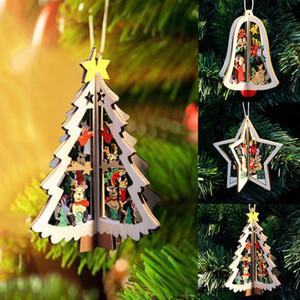 3D navidad de madera colgante de árbol de navidad adorno diy santa navidad árbol decoración para fiesta en casa año nuevo colgante de madera
