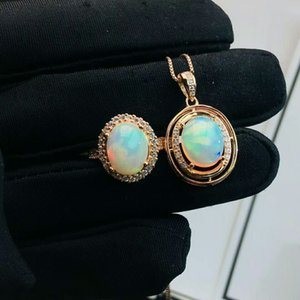 MeiBaPJ Natural Big Opal Gemstone Ellipse Ring and Necklace 2 Pieces Siut for Women Real 925 Sterling Silver Fine Jewelry Set