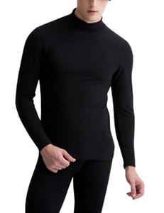 Mock 2pcs Zacoo hombres de cuello caliente continua gruesa cepillado conjunto de ropa interior térmica