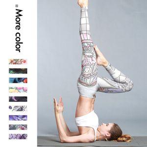 Yeni kadın baskılı streç sıkı dokuz dakikalık pantolon doğa sporları çalıştıran fitnes Spor pantolon