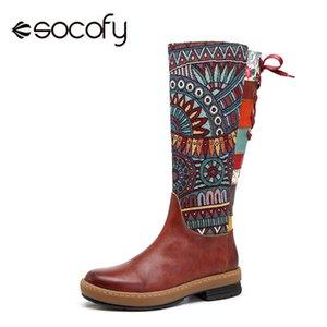 Socofy Vintage Orta buzağı Boots Kadınlar Bohemian Gerçek Deri Motosiklet Boots Baskılı Yan Fermuar Arka Lace Up Botaş Ayakkabı