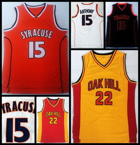 # 22 Oak Hill High School di Jersey Carmelo Anthony # 15 Siracusa College Basketball Jersey Mens cucito Arancione Bianco Giallo