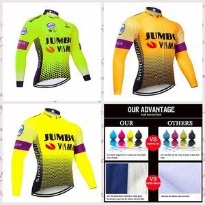Jumbo VISM équipe Long Jersey Homme plein air VTT Courir Vélo NOUVEAU T-shirt d'équitation Vêtements vélo Sportwear B61219