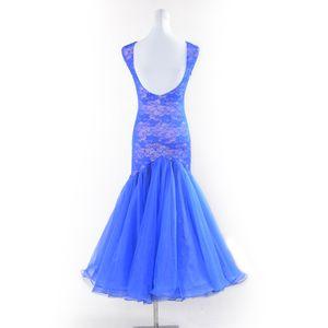 NOVO azul vestido de baile padrão mulher vestidos de competição de dança de salão sexy sem mangas rendas waltz foxtrot rumba vestido de dança moderna