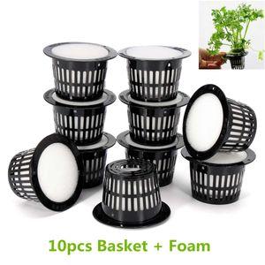 10pcs Mesh Pot Net Cup Panier Système hydroponique de jardin plante pousse légumes Clonage Avec mousse germent en pépinière Pots