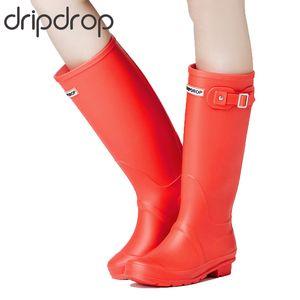 DRIPDROP Original Tall Rain Boots for Women British Classic Waterproof Rainboots Ladies Wellies Wellington Matte Boots V191217