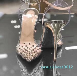 2020 New Red Bottom High heels Genuine leather Woman pumps Crystal Woman High Heels Pointed toe Rivet Wedding Full Original Packaging c12