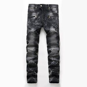 Mens Skinny Biker Jeans for Men Vintage Black Moto with Zipper Pleated Stretch Jeans Men's New Brand Slim Pants calca masculina