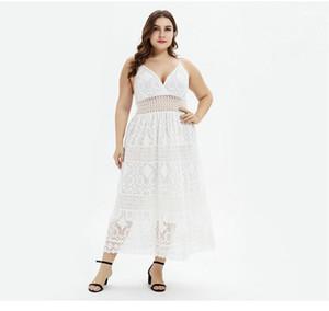 V шеи платья Sexy Женщины Плюс Размер одежды Асимметричный Пояса моды голеностопного Длина Повседневная одежда женщин лета Шнурок