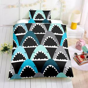 Cartone animato Shark Bedding Set Queen Size Carino moda Copripiumino Bed nero della copertura Doppia morbida King Double completa singola con 3pcs federa
