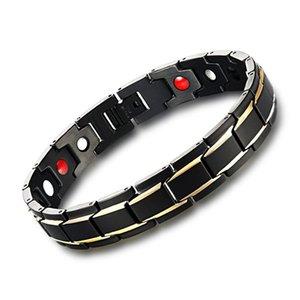 1 PC Pulseiras de Saúde dos homens Negros Bangles Magnético H Poder Charm Bracelet Jóias de Aço Inoxidável para o Homem # 0043