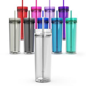 Vaso de acrílico delgado de 16 oz vaso de bebida de 16 oz con tapa y paja 480 ml de plástico transparente Sippy Cup BPA Free Double Wall botella de agua recta
