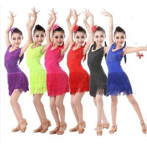 Kızlar payetli Püsküller Latin Dans Yarışması Çocuk Balo Tango, Salsa Fringe costumesDress çocuk dancewear kıyafetler giydirmek