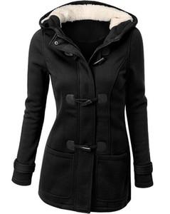 Women's Jackets Outerwear Coats veste femme for work black Big code Women's wear Ox horn buckle pocket Hooded cap Long sleeves Loose coat