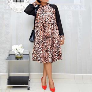Retro Leopardo africano Fashion Dress manica lunga caduta stampato 2019 Ufficio oversize allentato Vintage Plus Size autunno vestito delle donne