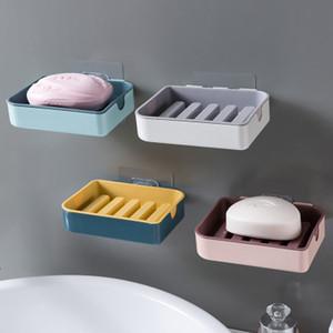 3 PCS Plastic drenagem Titular Strong otário Soapbox Banheiro Saboneteira Cesta de armazenamento Caixa de Punch-livre Ventosa tapeçaria Soap Box