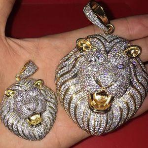 Хип-хоп Iced Out Bling CZ Лев голову Подвеска Iced Out ожерелье животных с веревкой цепи Мода ювелирные изделия