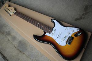 Venta especial. Guitarra eléctrica de tabaco con guitarra eléctrica, funda de rosdewood, pickguard blanco, 3 cables, personalizados.