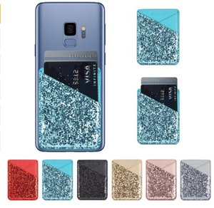 Glitter Card Back Sticker For iPhone X 7 8 Case Wallet Credit Card Holder Sticker Pocket Fashion Simple Card Case For Samsung S9 LLFA