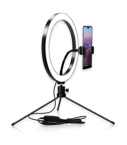 Dimmable LED Selfie Ring Licht 8 '' 10 '' 26 cm Ringlampe für Make-up Beleuchtung Beauty Room Table Tripod Living Broadcast USB-Stecker