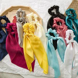 Capelli elastici nuovo DIY Bow Streamers Scrunchies solido di colore raso serico annodato Capelli Cravatte Donne Ragazze Accessori per capelli