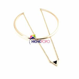 الموضة Torques With Link Chain Triangle Pendant قلادة هندسية عصرية للنساء عقد الطوق المعدني