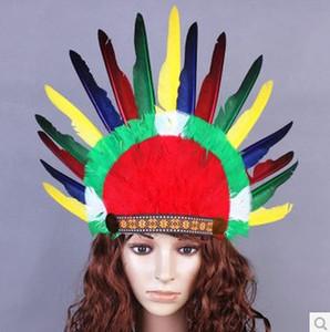 Thanksgiving Day Prop Hut Festival Cosplay Requisiten Kopfbedeckungen Savages Ethnische Minderheit Chief Feather Haarschmuck