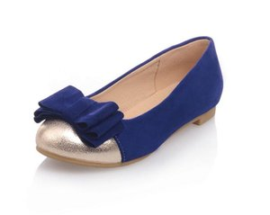 2020 Spring and Autumn with New style fashion flat bottom round head bowknot Suede Women's shoes @MQWBH399