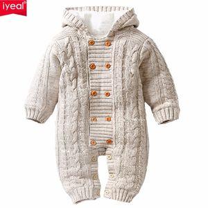 Iyeal dicke warme Säuglingsspielanzug Winterkleidung Neugeborenes Baby Mädchen Strickpullover Overall mit Kapuze Kind Kleinkind Oberbekleidung Q190520