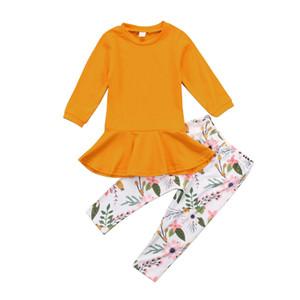 Kızlar Için 2019 Yeni Yıl Kostümleri Noel Çocuk Giyim Bebek Kız uzun Kollu Mini Elbise Tops + Çiçek Pantolon Bebek Kız giysi