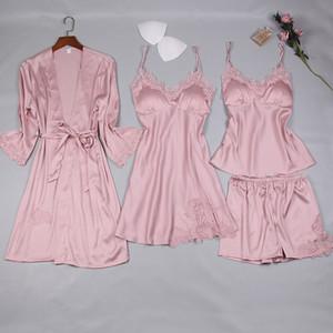 MECHCITIZ 4 pièces de l'ensemble pour la chemise de nuit de peignoir de femmes pantalons courts en tête robe de soie pyjama sexy été pijamas