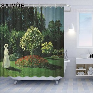 Impressionist Painting Shower Curtains Monet Garden White Long Skirt Women Normandy Train Decoration Bathroom Shower Curtain Waterproof