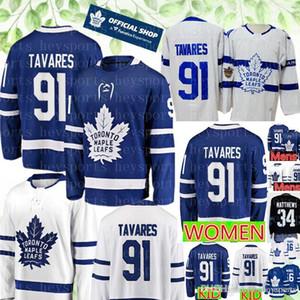 2019 Leafs # 91 Джон Таварес мужской Малыш Женщины Джерси 2018 Toronto Maple Листьты Хоккей Джьи сшитые Логотипы Бесплатная Доставка