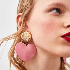 2019 NEW Acrylic Big Heart Acid Acid Earrings Simple Candy Color Earrings For Women Girls Drop Ciondola Accessori geometrici Bijoux