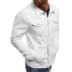 Nueva Moda para hombre del dril de algodón de la chaqueta de los hombres delgados de la chaqueta del dril de algodón sólido masculino Jean chaquetas de los hombres del vaquero ropa de moda de Hip Hop