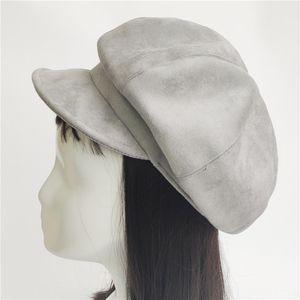 5qhq7 Suede otto pezzo cappello strillone pelle scamosciata copertura otto circonferenza nera stile Grey giapponese tutto-fiammifero strillone berei autunno e l'inverno wome